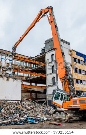 demolition of an office building - stock photo