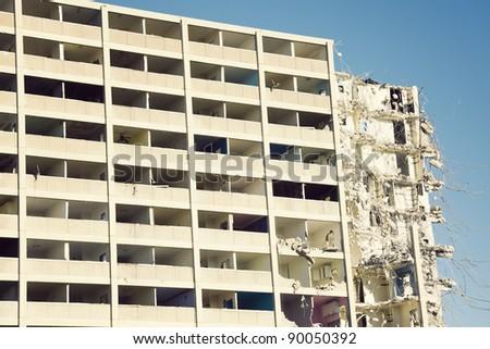 Demolition of Cabrini-Green building in Chicago - stock photo