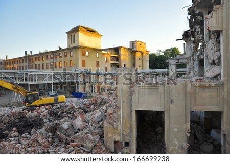 Demolition of industrial old building,  - stock photo