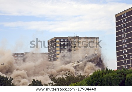 Demolition of 1960s building in Sighthill, Edinburgh. - stock photo