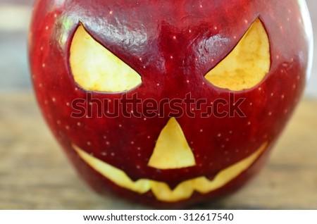 Demon Apple Halloween - stock photo