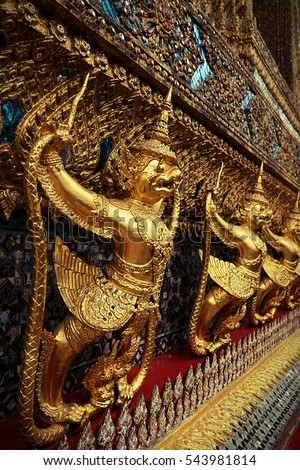 Demon Guardian at Wat Phra Kaew - the Temple of Emerald Buddha in Bangkok, Thailand