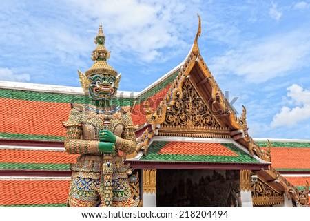 Demon  Guardian Statue at Wat Phra Kaew Temple in Royal Grand Palace, Bangkok, Thailand - stock photo