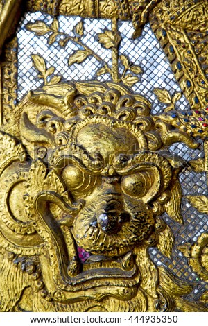 demon in the temple bangkok asia   thailand abstract cross colors step gold wat  palaces  - stock photo