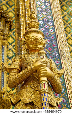 demon in the temple bangkok asia   thailand abstract cross colors step gold wat  palaces  warrior monster - stock photo