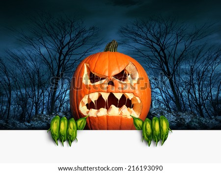 Demon pumpkin sign as an angry scary orange  jack o lantern in a haunted dark autumn forest holding a blank sign with copy space as a symbol of a fun frightful seasonal holiday concept. - stock photo