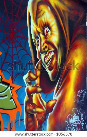 Demon Street Art - stock photo
