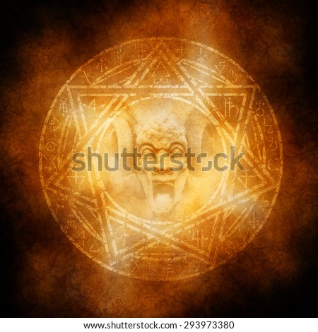 Demon Trap with satanic goat horned devil materialising at the centre of a fiery occult symbol.