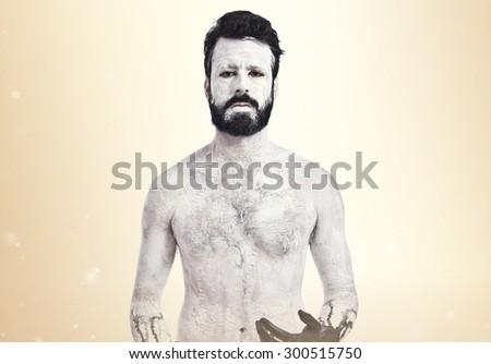 Demon with black hands - stock photo