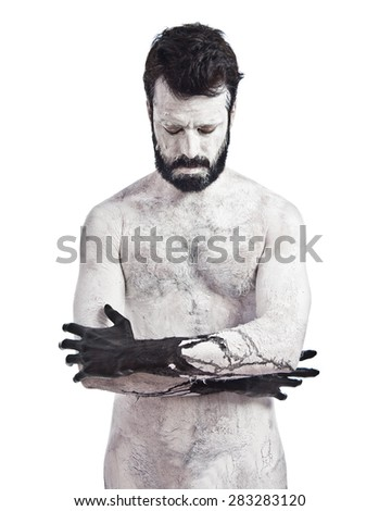 Demon with his eyes closed - stock photo