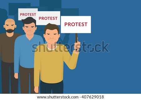 Demonstration and protest concept crowd of angry people with banners. Flat illustration of political protesters and politic crisis poster, revolution placard concept  - stock photo