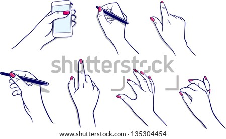 Demonstration hands Bezier curves edition process (vector graphics) using tablet - stock photo