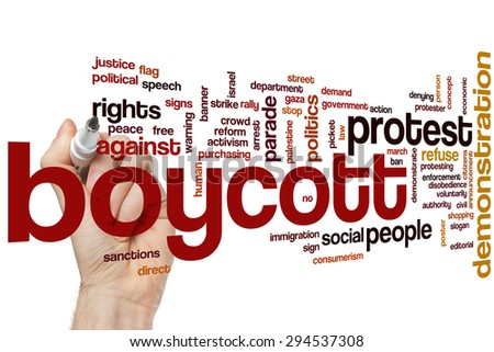 Demonstration word cloud concept with politics activism related tags - stock photo