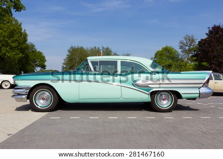 DEN BOSCH, THE NETHERLANDS - MAY 10, 2015: 1958 Buick Special on the parking lot at the Rock Around The Jukebox event. - stock photo