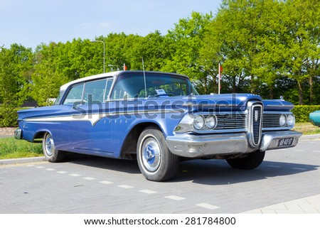 DEN BOSCH, THE NETHERLANDS - MAY 10, 2015: 1957 Edsel Ranger on the parking lot at the Rock Around The Jukebox event.