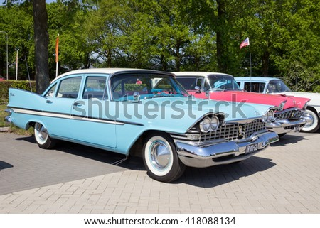 DEN BOSCH, THE NETHERLANDS - MAY 10, 2016: Parked 1959 Plymouth Belvedere - stock photo