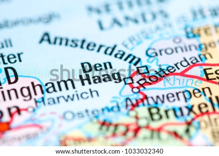 Den Haag Netherlands On Map Stock Photo Royalty Free 1033032340