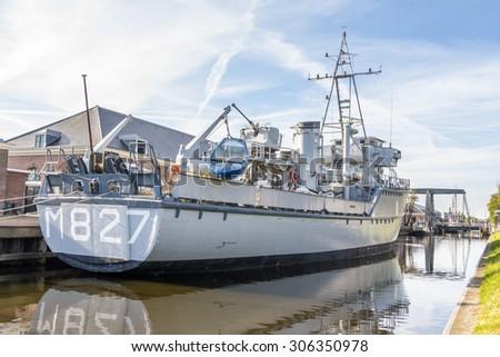 DEN HELDER, NETHERLANDS, - AUGUST 2, 2015: Mine hunter of the Dutch navy in the harbor of Den Helder  - stock photo