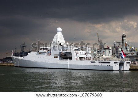 DEN HELDER, THE NETHERLANDS - JULY 7: Brand new patrol ship Hr.Ms. Holland of the Dutch Navy open for visits during the Dutch Navy Days on July 7, 2012 in Den Helder, The Netherlands - stock photo