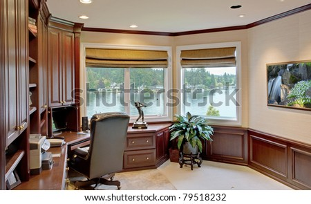 Den in Luxurious New Home - stock photo
