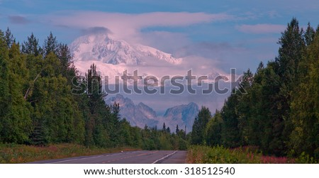 Denali and Parks Highway - stock photo