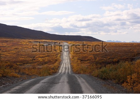 Denali Highway in Alaska - stock photo