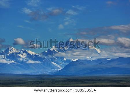 Denali (McKinley) peak in Alaska,USA - stock photo