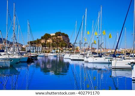 Denia marina Port and Castle in Alicante at Spain Mediterranean sea - stock photo