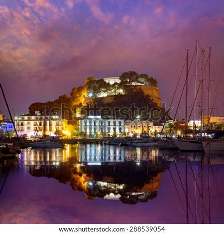 Denia port sunset dusk in marina at Alicante Mediterranean Spain - stock photo