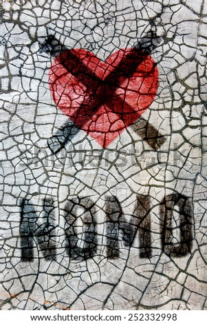 Denial of the holiday Valentine's Day: crossed heart with the words: NO! - stock photo