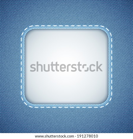 denim background with frame and seam