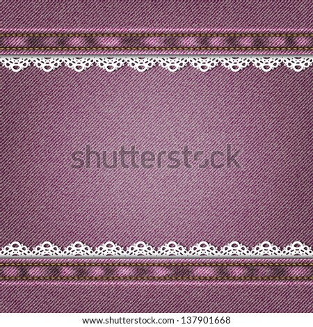 Denim background with lace. Raster version. - stock photo