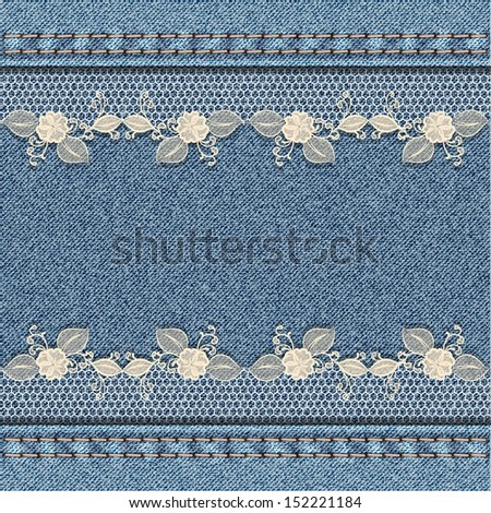 Denim background with white floral lace. - stock photo