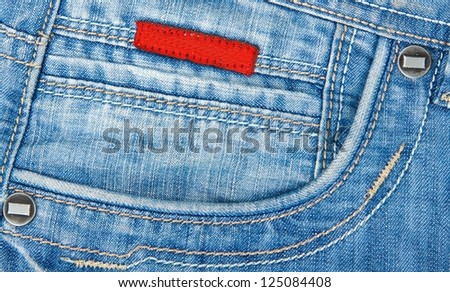 denim blue jeans pocket - stock photo