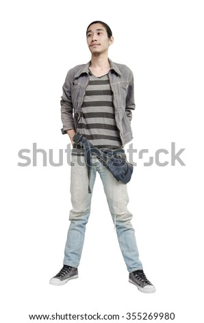 Denim fashion man on white background.