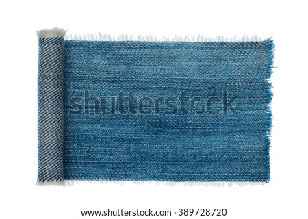 Denim frame folded in the form of manuscripts,scroll isolated on white background, with space for your text - stock photo
