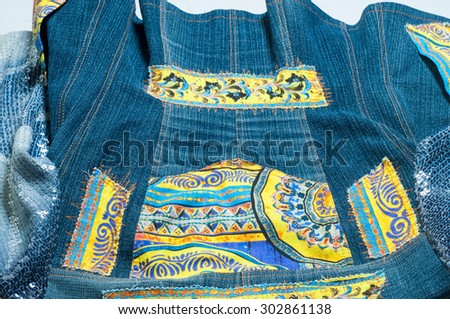 Denim jacket handmade. Photographed in the studio