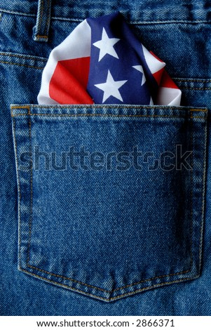 Denim Jeans Back Pocket With An American Flag Bandanna - stock photo