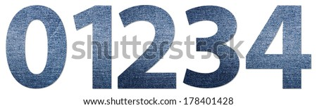 Denim Jeans Texture Numbers 0-4