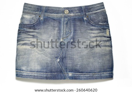 Denim Mini Skirt - stock photo