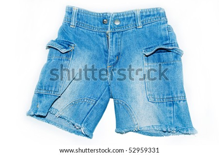 Denim Shorts for five years old child isolate on white background - stock photo