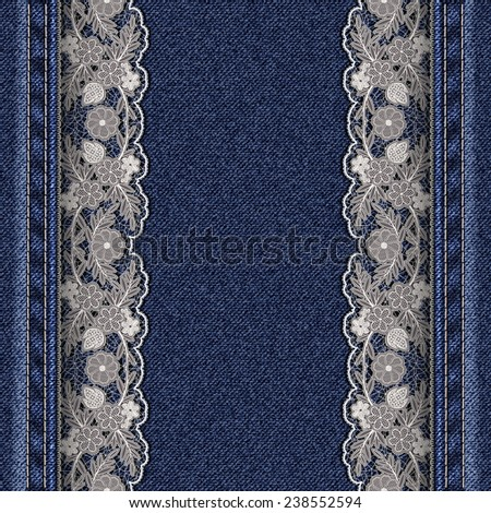 Denim texture with attached white lace ribbons. Beautiful frame for greeting card or cover - stock photo