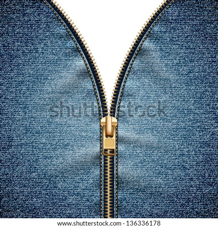 Denim texture with open zipper - raster version - stock photo