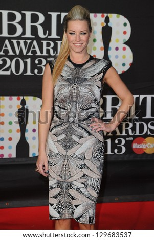 Denise Van Outen arrives for the Brit Awards 2013 at the O2 Arena, Greenwich, London. 20/02/2013 Picture by: Steve Vas