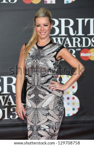 Denise Van Outen arriving for the Brit Awards 2013 at the O2 Arena, Greenwich, London. 20/02/2013 Picture by: Henry Harris