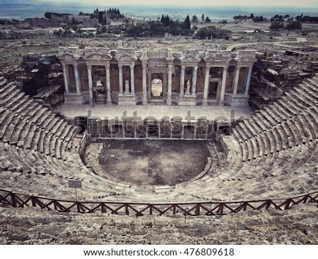 DENIZLI, TURKEY - Aug 2016; The Roman Theatre is located in the middle of Hierapolis in Denizli, Turkey. It was built in 2nd century AD. Roman Theatre had a capacity of aprox. 10.000 spectators.