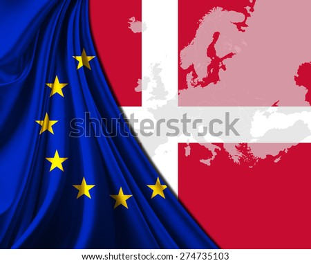 Denmark and European Union Flag with Europe map background