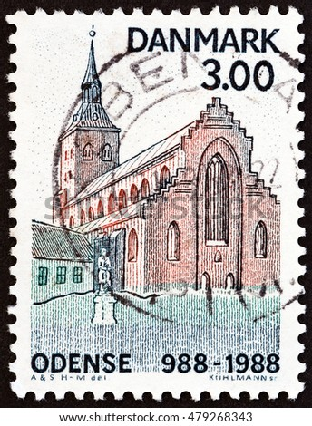 "DENMARK - CIRCA 1988: A stamp printed in Denmark from the ""Millenary of Odense "" issue shows St. Canute's Cathedral, circa 1988."