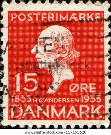 DENMARK - CIRCA 1935:A stamp printed in Denmark shows Hans Christian Andersen, was a Danish author, fairy tale writer, poet, circa 1935 - stock photo