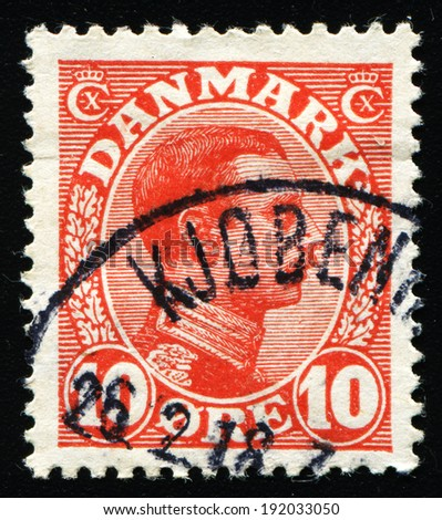 DENMARK - CIRCA 1930: A stamp printed in Denmark shows image of King Christian X, series, circa 1930 - stock photo